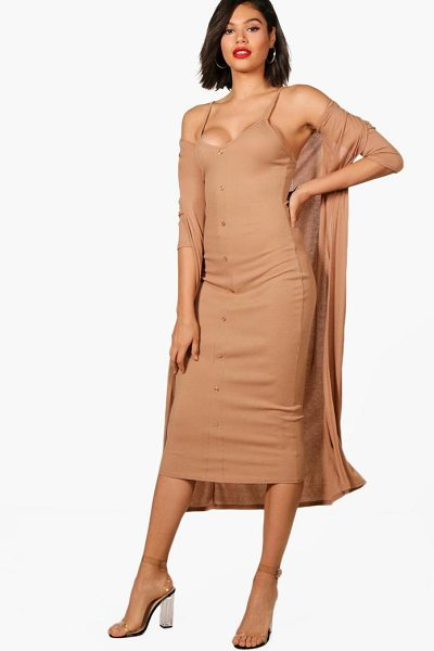 Boohoo Emma Knitted Midaxi Dress And Cardigan Set in camel - Dresses are the most-wanted wardrobe item for...