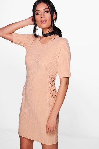 BOOHOO Emma Lace Up Corset Rib Knit T-Shirt Dress - Nail new season knitwear in the jumpers and cardigans...