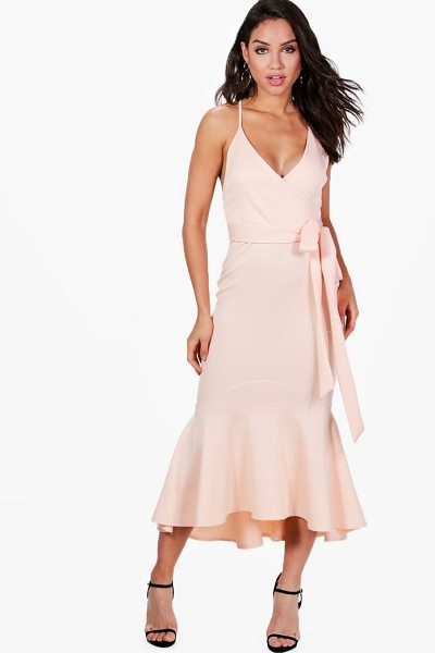 Boohoo Emma Plunge Wrap Frill Hem Midi Dress in blush - Dresses are the most-wanted wardrobe item for...