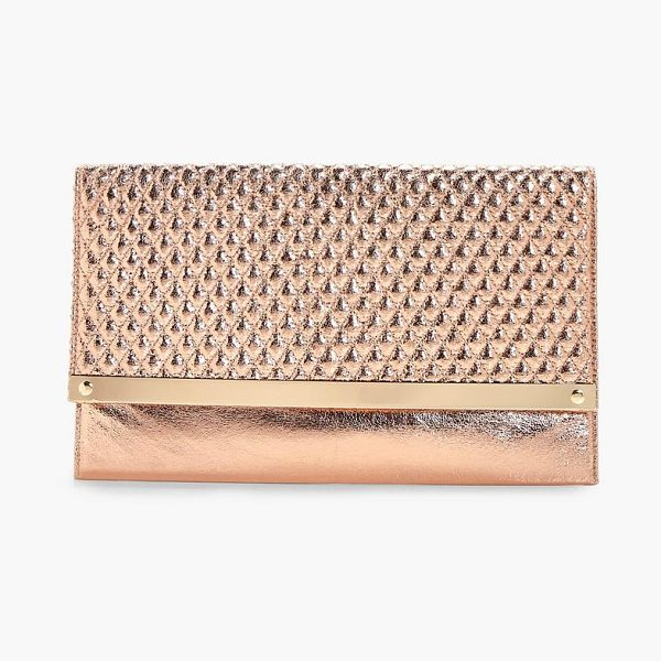 Boohoo Emma Quilted Metal Bar Clutch Bag in rose gold - Add attitude with accessories for those fashion-forward...