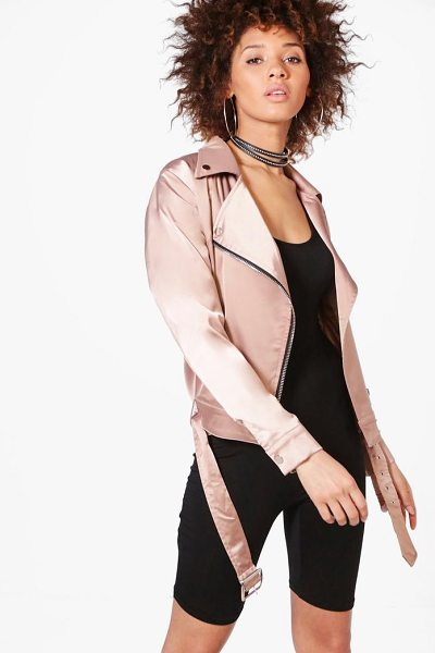Boohoo Emma Satin Biker Jacket in mocha - Wrap up in the latest coats and jackets and get...