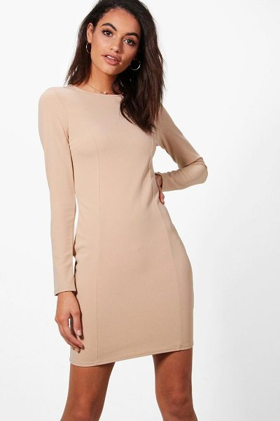 Boohoo Emma Seam Detail Dress in stone