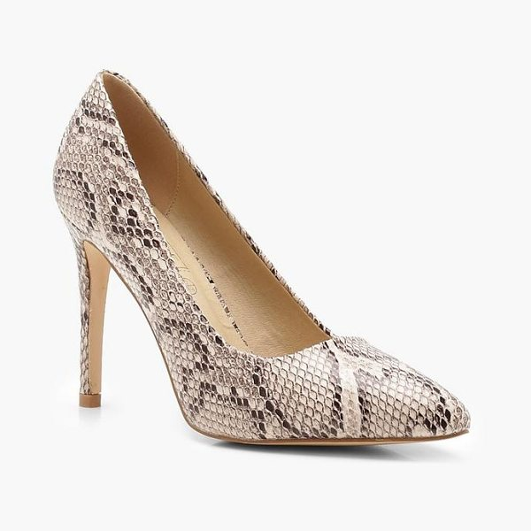 BOOHOO Snake Effect Pointed Court Shoes in nude - We'll make sure your shoes keep you one stylish step...