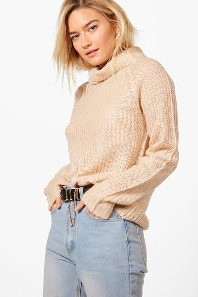 Boohoo Emma Soft Knit Turtle Neck Jumper in nude - Nail new season knitwear in the jumpers and cardigans...