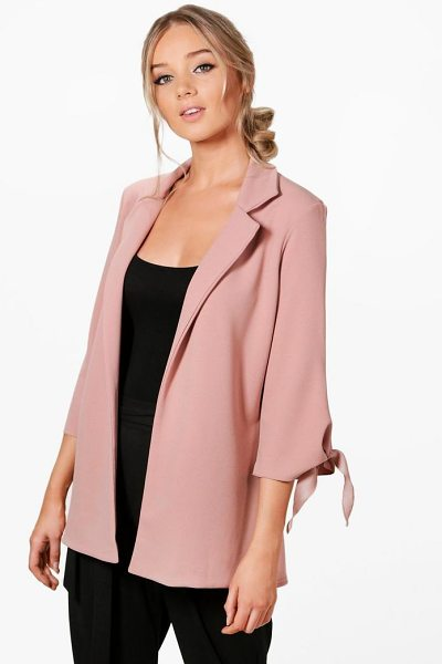 Boohoo Emma Tie Cuff Tailored Blazer in rose - Wrap up in the latest coats and jackets and get...