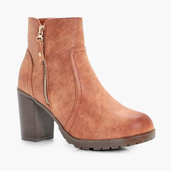 Boohoo Emmeline Zip Side Heeled Boots in tan - We'll make sure your shoes keep you one stylish step...