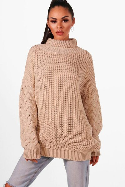 Boohoo Oversized Roll Neck Cable Sleeve Knitted Sweater in oatmeal