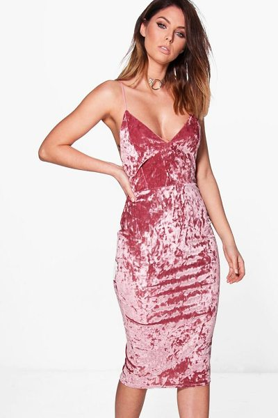 Boohoo Emzy Crushed Velvet Midi Bodycon Dress in rose - Dresses are the most-wanted wardrobe item for...