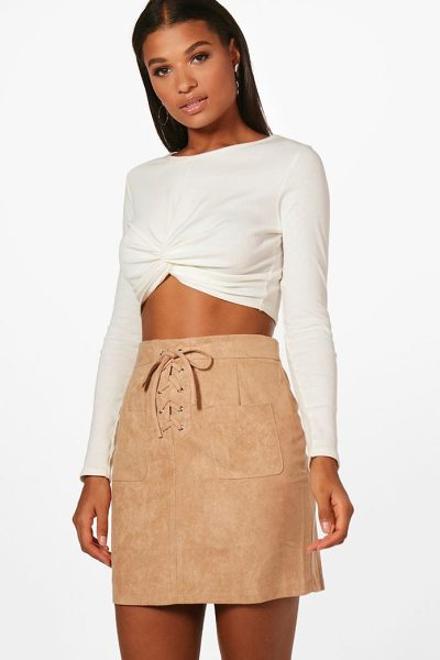 BOOHOO Lace Up Front Suedette Mini Skirt - Knock 'em dead and show off those pins with a killer...