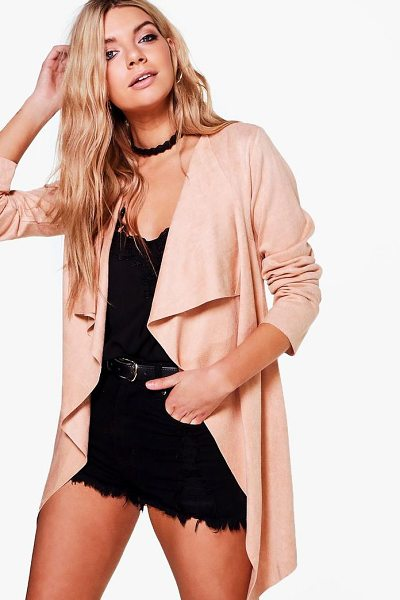 Boohoo Erica Waterfall Suedette Jacket in taupe - Wrap up in the latest coats and jackets and get...