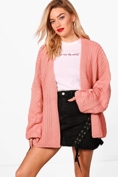 Boohoo Erin Cable Sleeve Slouchy Cardigan in blush - Nail new season knitwear in the jumpers and cardigans...