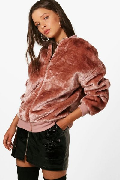 Boohoo Erin Faux Fur Bomber Jacket in blush - Wrap up in the latest coats and jackets and get...