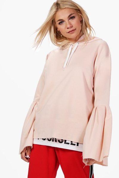 Boohoo Erin Flare Sleeve Oversized Hoody in peach - Grab yourself a your favourite hoodie to rock an...