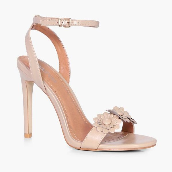 BOOHOO Erin Flower Applique 2 Part Heel - We'll make sure your shoes keep you one stylish step...