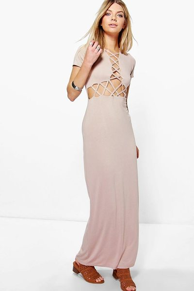 Boohoo Erin Lattice Cross Maxi Dress in stone - Full-on fashion starts with a floor-sweeping maxi...