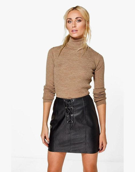 BOOHOO Erin Rib Knit Turtleneck Jumper - Nail new season knitwear in the jumpers and cardigans...