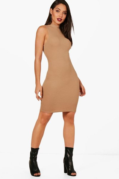 Boohoo Erin Sleeveless Roll Neck Knitted Dress in camel - Dresses are the most-wanted wardrobe item for...
