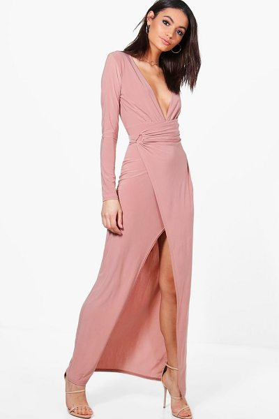 Boohoo Erin Slinky Wrap Detail Maxi Dress in stone - Dresses are the most-wanted wardrobe item for...