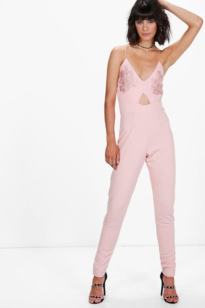 Boohoo Esme Applique Strappy Skinny Leg One Piece in rose - Esme Applique Strappy Skinny Leg Jumpsuit rose