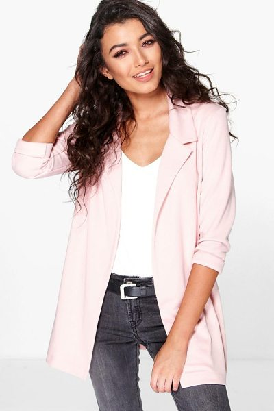 Boohoo Esme Ponte Blazer in nude - Wrap up in the latest coats and jackets and get...