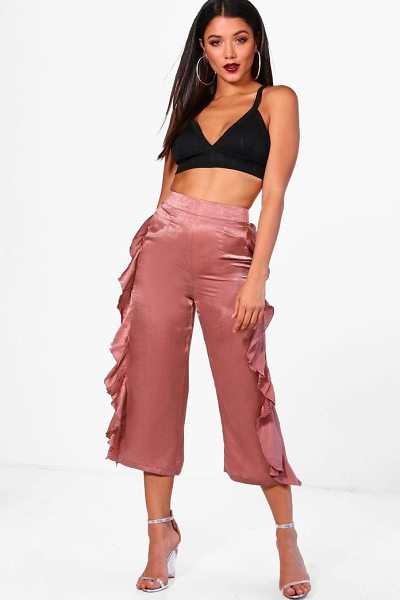 Boohoo Ruffle Side Woven Wide Leg Trouser in rose dust - Trousers are a more sophisticated alternative to...