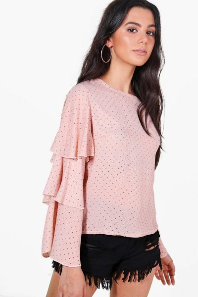 BOOHOO Esme Spot Ruffle Sleeve Woven Top - Steal the style top spot in a statement separate from...