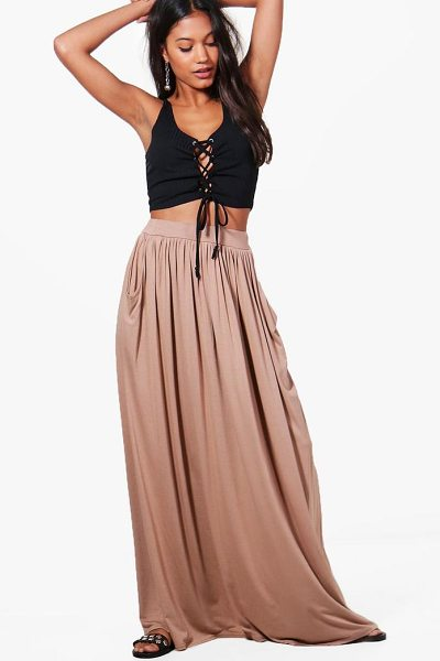 Boohoo Ettie Pocket Front Floor Sweeping Jersey Maxi Skirt in sand - Skirts are the statement separate in every wardrobe This...