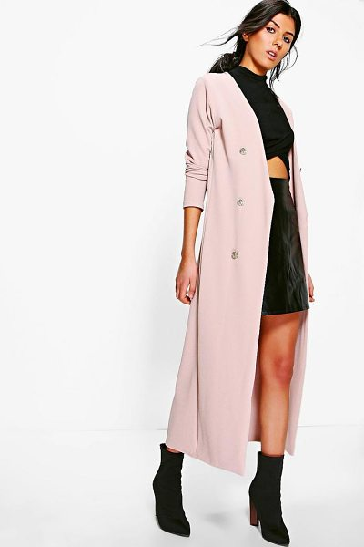 Boohoo Eva Button Front Longline Duster Jacket in stone - Wrap up in the latest coats and jackets and get...