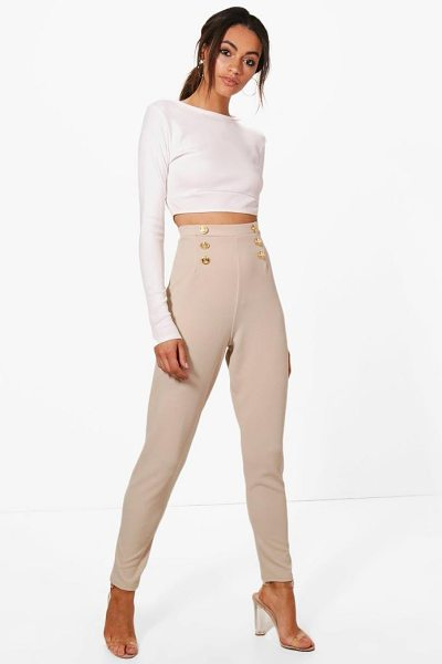 Boohoo Eva Button Front Skinny Trouser in stone - Tailor your style your way and choose a pair of...