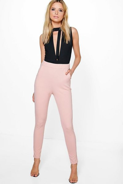 Boohoo Eva Crepe Stretch Skinny Trousers in oatmeal - Trousers are a more sophisticated alternative to...