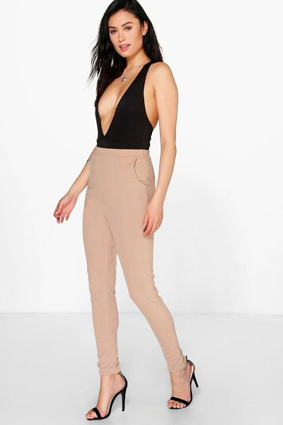 Boohoo Eva Crepe Super Stretch Skinny Trousers in sand - Trousers are a more sophisticated alternative to...