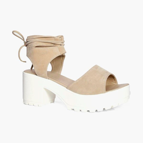 Boohoo Peeptoe Wrap Over Cleated Sandals in nude - We'll make sure your shoes keep you one stylish step...