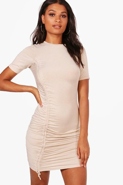 Boohoo Eva Ruched Tie Cap Sleeve Bodycon Dress in rose - Dresses are the most-wanted wardrobe item for...