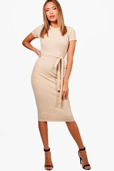 Boohoo Tie Waist Fitted Dress in stone - Be seriously on trend this season with your hem line and...