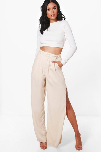 Boohoo Eve Belted Tailored Wide Leg Split Side Trousers in cream - Trousers are a more sophisticated alternative to...