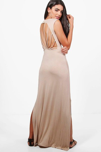 Boohoo Eve Caged Back Maxi Dress in sand - Dresses are the most-wanted wardrobe item for...