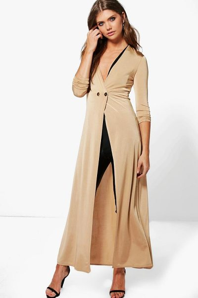 Boohoo Evelyn Double Breasted Slinky Maxi Duster in camel - Wrap up in the latest coats and jackets and get...