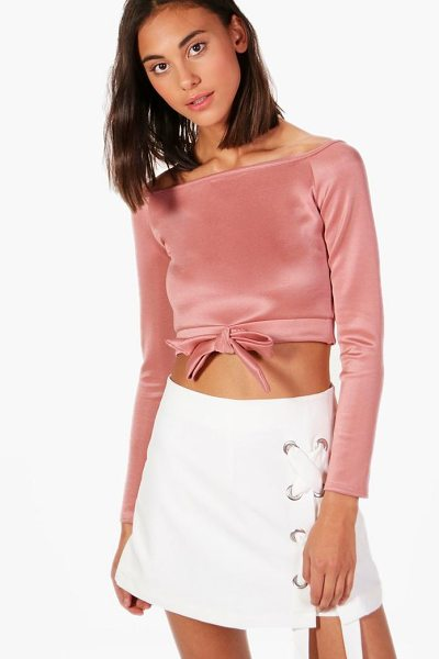 BOOHOO Evelyn Scuba Tie Front Bardot - Steal the style top spot in a statement separate from...