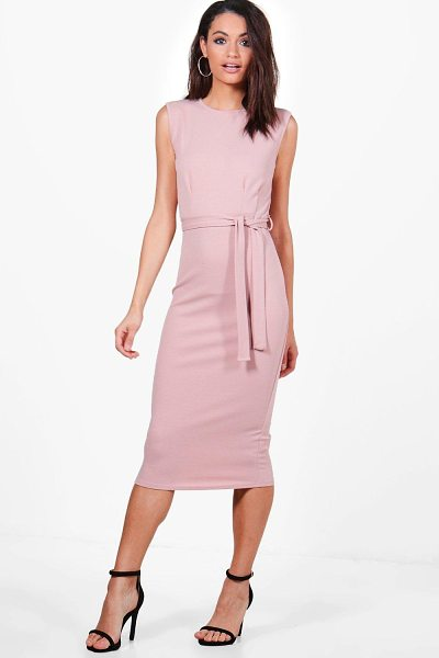 Boohoo Evie Sleeveless Pleat Front Tailored Midi Dress in rose - Dresses are the most-wanted wardrobe item for...