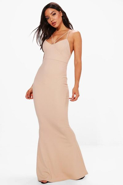 Boohoo Evie Strappy Detail Fishtail Maxi Dress in stone - Dresses are the most-wanted wardrobe item for...