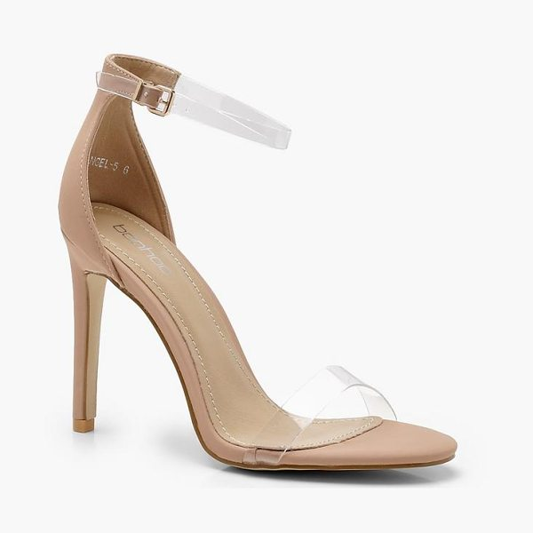 Boohoo Clear Band 2 Part Heels in nude
