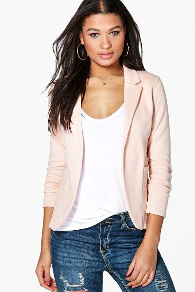 Boohoo Pocket Ponte Blazer in cream - Wrap up in the latest coats and jackets and get...