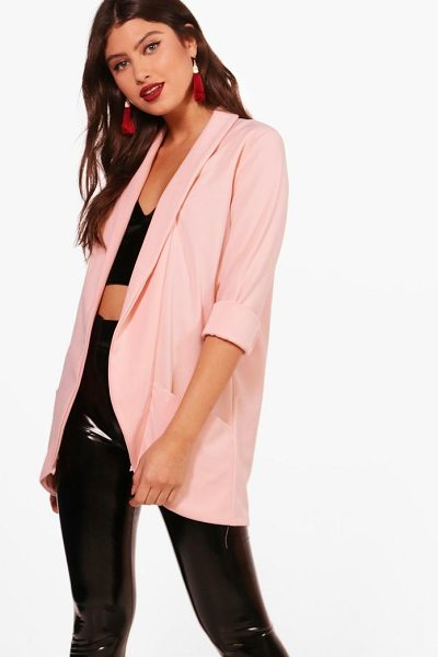 Boohoo Faith Shawl Collar Woven Crepe Blazer in blush - Wrap up in the latest coats and jackets and get...