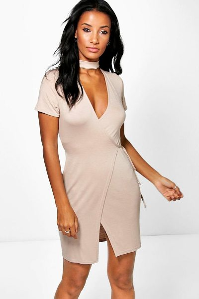 Boohoo Farah Wrap Choker Detail Mini Dress in antique rose - Dresses are the most-wanted wardrobe item for...