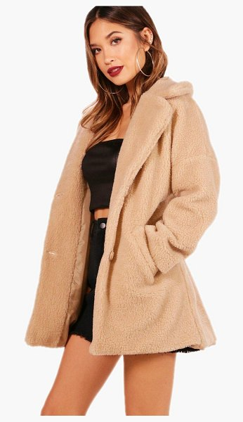 Boohoo Faux Fur Teddy Coat in stone