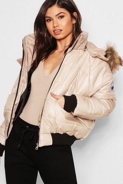 Boohoo Faux Fur Trim Cire Puffer Jacket in stone - Wrap up in the latest coats and jackets and get...