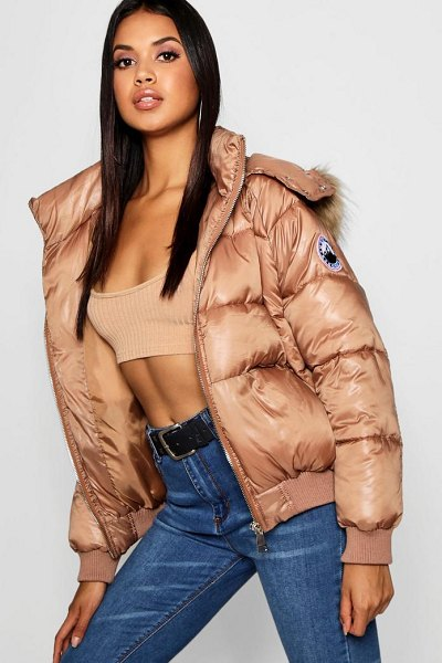 Boohoo Faux Fur Trim Cire Puffer Jacket in cognac - Wrap up in the latest coats and jackets and get...