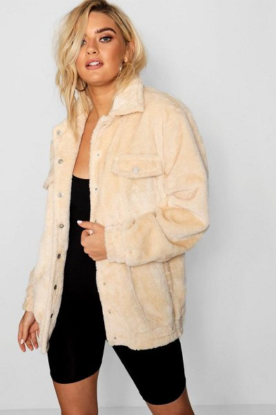 Boohoo Faux Fur Trucker Jacket in natural - Wrap up in the latest coats and jackets and get...
