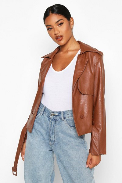 Boohoo Faux Leather Short Trench Coat in tan