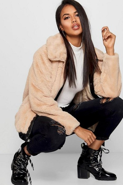 Boohoo Faux Leather Trim Faux Fur Coat in natural - Wrap up in the latest coats and jackets and get...